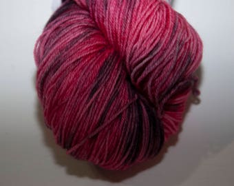 Hand-Dyed Yarn in Cherry Delight Colourway 4ply Superwash Polwarth Snuggly Base