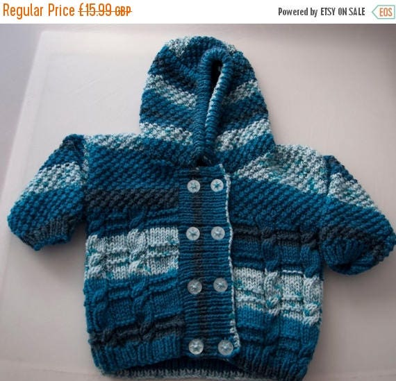 Christmas In July Handknitted Boys Hoodie Cabled Cardigan 18months