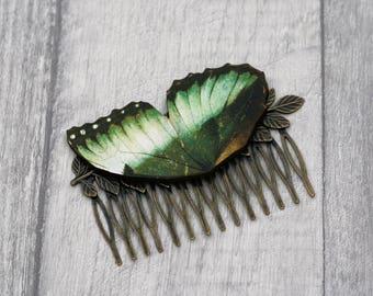 Green Butterfly Hair Slide, Green Hair Grip, Girls Hair Accessory