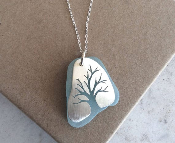 Sterling Silver and Blue Sea Glass Tree of Life Necklace