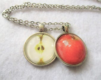 Set of 2 Cabochon PENDANTS with Necklace *** Juicy Delicious APPLE Inside & Out