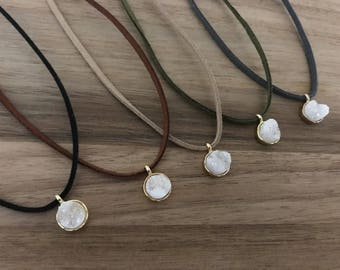 White Druzy Stone, Druzy Choker, Pendant, Faux Suede, Brown Jewelry, Suede Cord Necklace, Ribbon Jewelry, Women's Necklace, Jewelry
