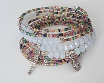 rosary bracelet for women,  beaded bracelet, wrap bracelet,  godmother proposal gift, prayer beads, mothers day gift mom gifts from daughter