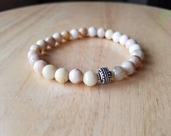 sunstone bracelet, mens beaded bracelet, gemstone bracelet, healing bracelet, boho jewelry, husband gift, mala beads bracelet