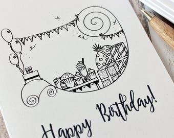 Birthday Card. Happy Birthday Card. Birthday Cards. Happy Birthday Cards. Birthday Party Card. Hand Drawn. Illustration. Black and White.