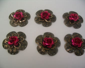 6 Rose Flower Filigree Layered Embellishments Scrapbook Jewelry Craft Supplies