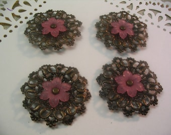 4 Filigree Stampings Large Pink Flower Layered Embellishments Jewelry Craft Supplies