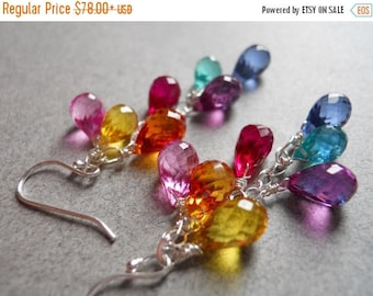 20% off FLASH SALE, Rainbow cluster teardrop earrings, Dangle Earrings, Multi color quartz teardrop earrings,  Goody Goody Gumdrops, multico