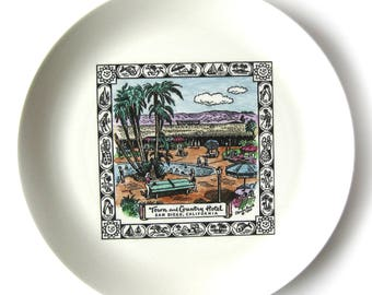 1960s Souvenir Plate from the Town and Country Hotel San Diego / Retro Style / Palm Trees / Dessert Plates / English China / Sunny San Diego