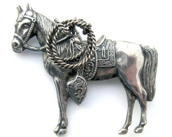 Maisel's Trading Post Sterling Silver Western Horse Brooch / Sterling Pin / Cowgirl / Old West / Southwest Jewelry / Rodeo Style / Western