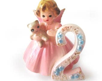 Vintage Ceramic 2nd Birthday Angel Figurine / Girl with Pink Dress and Teddy Bear / Signed Josef Originals / Early Years Age 2