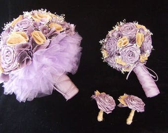 Amethyst and Burlap Wedding set Tulle Wedding Bouquet Bridesmaid set of 2 boutonnieres