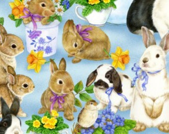 New ~ Bunnies Blue Color ~ Garden Gathering by Jane Maday for Wilmington Prints, Quilt Cotton, Easter, Spring Fabric