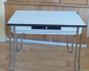 Vintage Enamel Top Table • Black and White Metal Chrome and Enamel Table • Farmhouse Country Kitchen Table