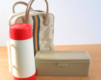 Vintage Picnic Lunch Bag Thermos and Food Box • Mid Century Lunch Tote • Aladdin Travel Picnic Set