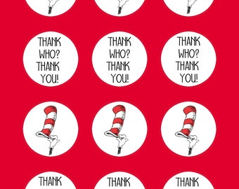 Seuss, Doctor Seuss, Cupcake Toppers, Birthday Cupcake Toppers, Tag, Sticker 2 inch round, Thank You