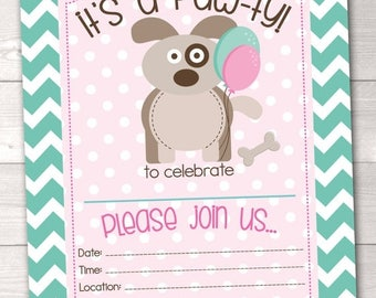 35% OFF SALE Girls Puppy Party Birthday Invitations / Instant Download Printable Birthday Party PDF