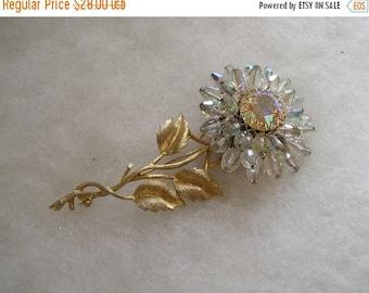 ON SALE Vintage Large Aurora Borealis Crystal & Rhinestone Flower Pin Brooch