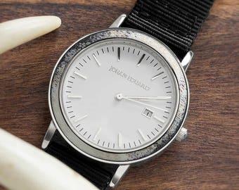 Deer Antler Watch, Silver Metal With Black Nylon Strap, Johan Eduard Watches