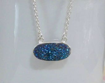 Mystic Blue Druzy Necklace, Sterling Silver Mystic Blue Druzy Quartz Necklace - Druzy Layering Necklace