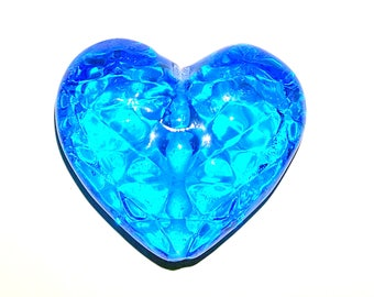 Blue heart shapped handmade lampwork glass bead