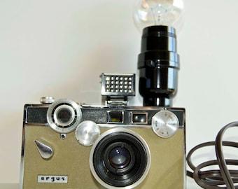 1 Vintage  tan/camel color Argus C3 camera desk lamp....photography, photographer steampunk table lamp art sculpture decorative