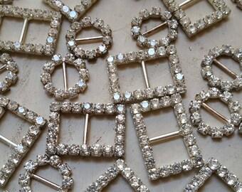 6 assorted rhinestone buckles