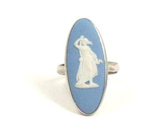Vintage Wedgwood Ring, Sterling Silver, Blue Jasper Cameo Ring, Wedgewood Ring, US Size 7-1/4, UK Size O