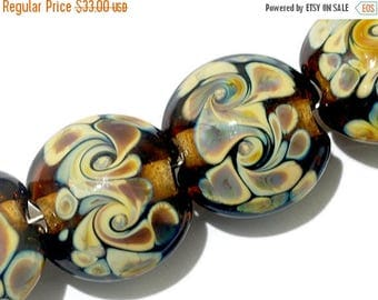 ON SALE 30% off Four Brown w/Twisted Beige Dot Lentil Beads - Handmade Glass Lampwork Bead Set 11102612