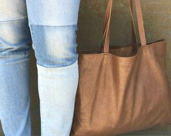 Silky Brown Leather Tote