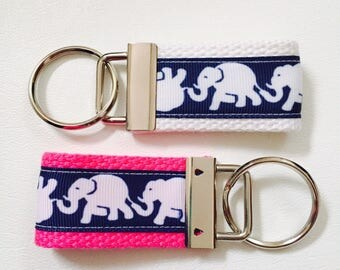Elephant Keychain, Tusk in Sun Priny, Navy Elephants, Key holder, Elephant Fabric, Lilly Inspired Print, KeyFob, KeyChain, Teacher Gift