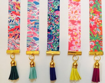 Lilly Inspired Ribbon Bookmark, Colorful Bookmark, Book Lover Gift, Lilly Ribbon, Summer Gift, Bright Tassel, Hold Your Place, summer gift