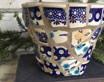 Broken China Mosaic Flower Pot - 6 Inch Boleslawiec Polish Pottery - Blue Hand painted Dishes