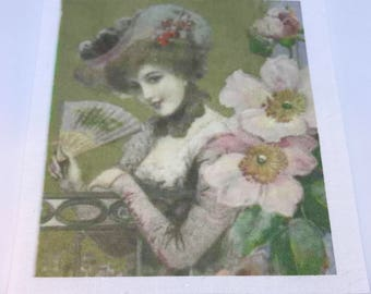 Vintage, Fusible Image with dogwood blossoms, Iron - On