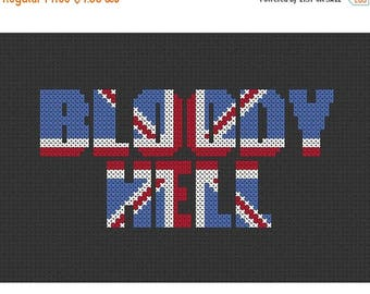 SALE Bloody Hell Union Jack Counted Cross Stitch Pattern Instant Download