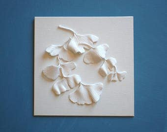 Ginkgo Leaves Wall Sculpture - 3D Ginkgo Biloba Clay Wall Art White on White Wall Tile