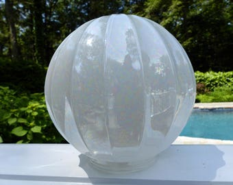 Vintage Iridescent Glass Globe Shade Ribbed - 6""