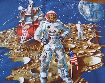 Vintage Outer Space Fabric Moon Landing Apollo Astronaut Lunar Walk Craters - Yardage 3 Yards