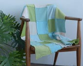 Pure cashmere knit Baby Blanket from repurposed sweaters - cool multi SAMPLE SALE