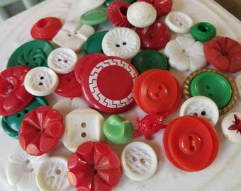 Vintage Buttons - Cottage chic fancy pierced mix of red, green, and white lot of 40 old and sweet( July409 17)