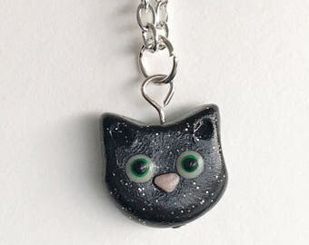 Black Cat Necklace, Polymer Clay