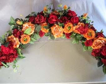 Wedding Ceremony Arch Decoration Orange Silk Roses, Ranunculus, Hydrangeas and Home Decor