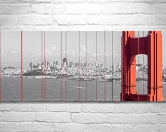 Golden Gate Bridge, Panoramic Wall Art, San Francisco Art, Ready to Hang, Birthday Gift, Picture Gift, Canvas Wrap, Cityscape, California