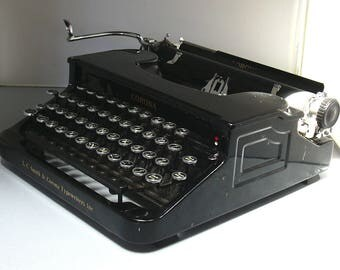 "Vintage Working  LC Smith Corona Portable Typewriter and Case with Large ""Speechriter"" Typeface- 1935"