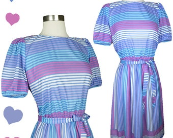 Vintage 80s Striped Pastel Day Dress S M This is Us Soft Short Sleeve Puff Waist Bow Secretary Casual Knee Length Pink Purple Blue Lavender