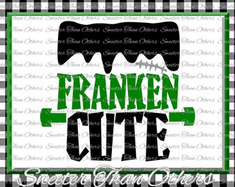 Halloween svg, Franken Cute svg, Frankenstein svg Dxf Silhouette Studios Cameo Cricut cut file INSTANT DOWNLOAD, Boy Halloween svg, Htv Scal