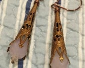 8th Annual Baby Sale Opaque pink Crystal Teardrop Antiqued Copper Filigree Victorian Cone Dangles //  Wedding jewelry //
