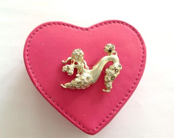 Vintage 1960s 60s French Poodle Diamente Brooch, Puppy Bow Poodle Pin Rockabilly Pin Up