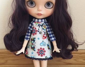 OOAK Dress & Matching Socks for Blythe - Flowers and Butterflies