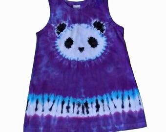 Panda Dress in Blue Violet Tie Dye with a Black and White Tie Dye Panda-Girls Panda Dress-Girls Tie Dye Dress